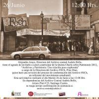 """Invitación charla: """"Archivos y Patrimonio: Una relación poco explorada"""" conformación del Archivo FECh"""